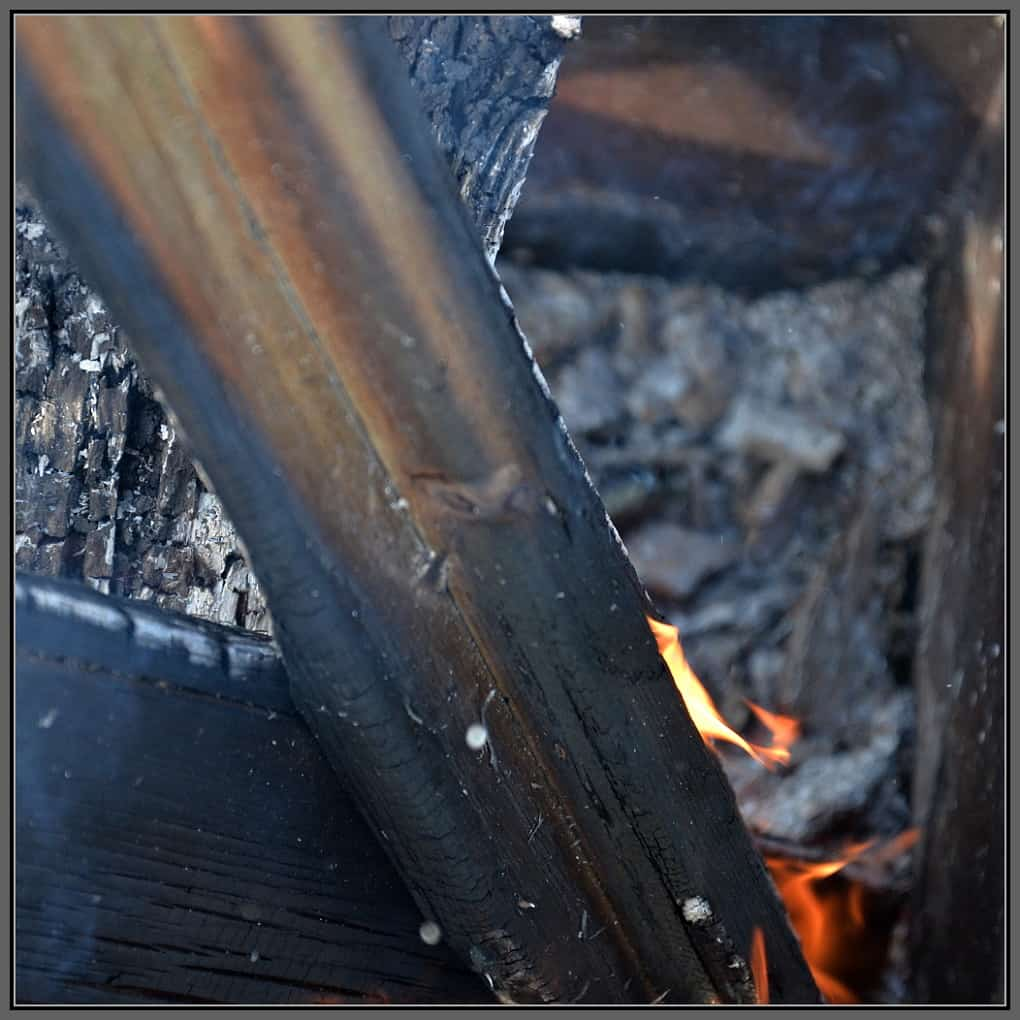 Wood burning in a brazier